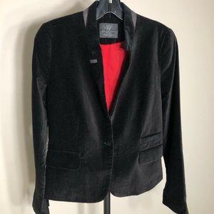 ZARA TRF COLLECTION black VELVET Blazer w/dots XS